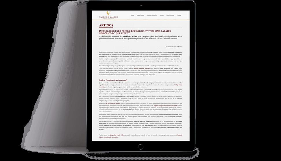 marketing digital para escritório de advocacia Valles e Valles